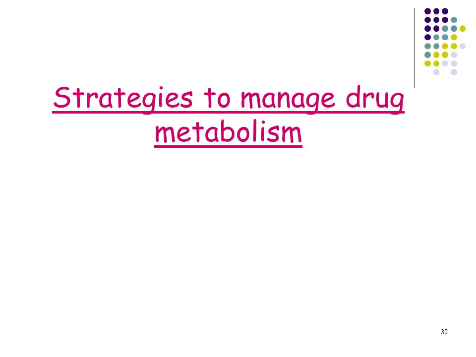 Strategies to manage drug metabolism