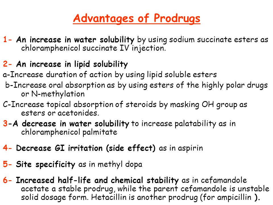 Advantages of Prodrugs