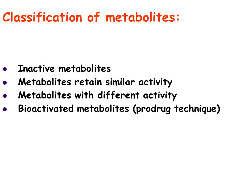 Classification of metabolites: