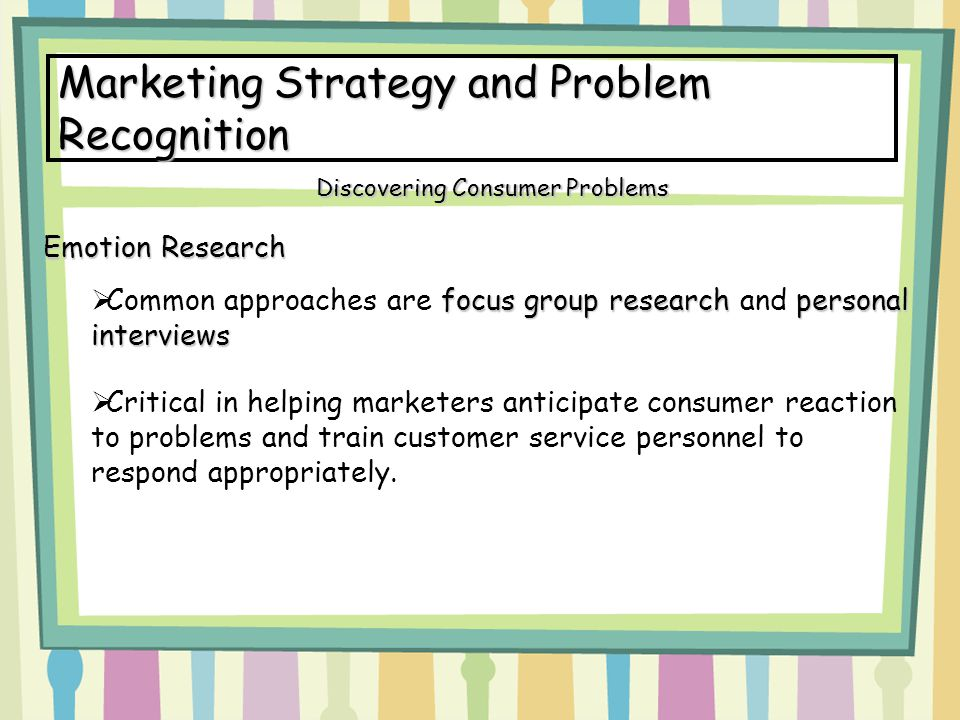 Marketing Strategy and Problem Recognition