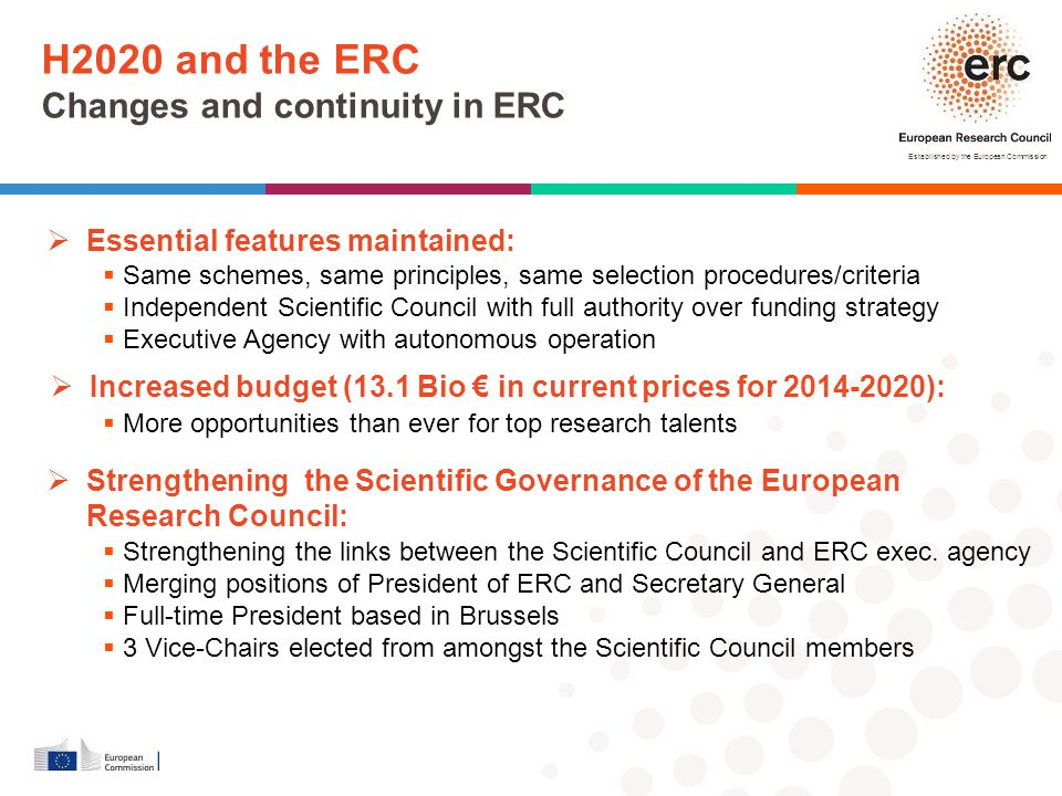 H2020 and the ERC Changes and continuity in ERC