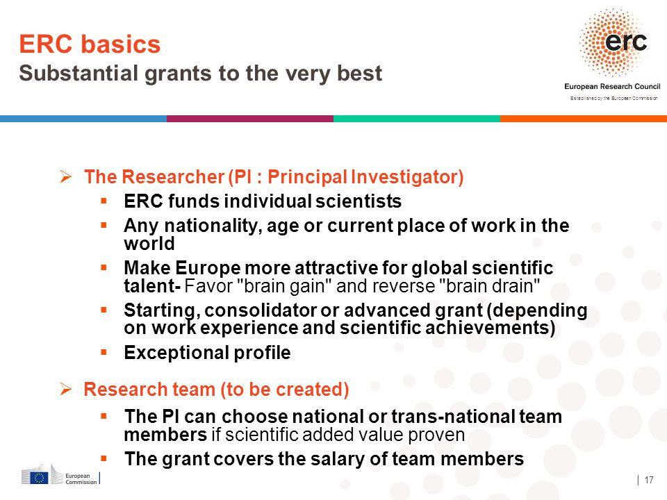 ERC basics Substantial grants to the very best