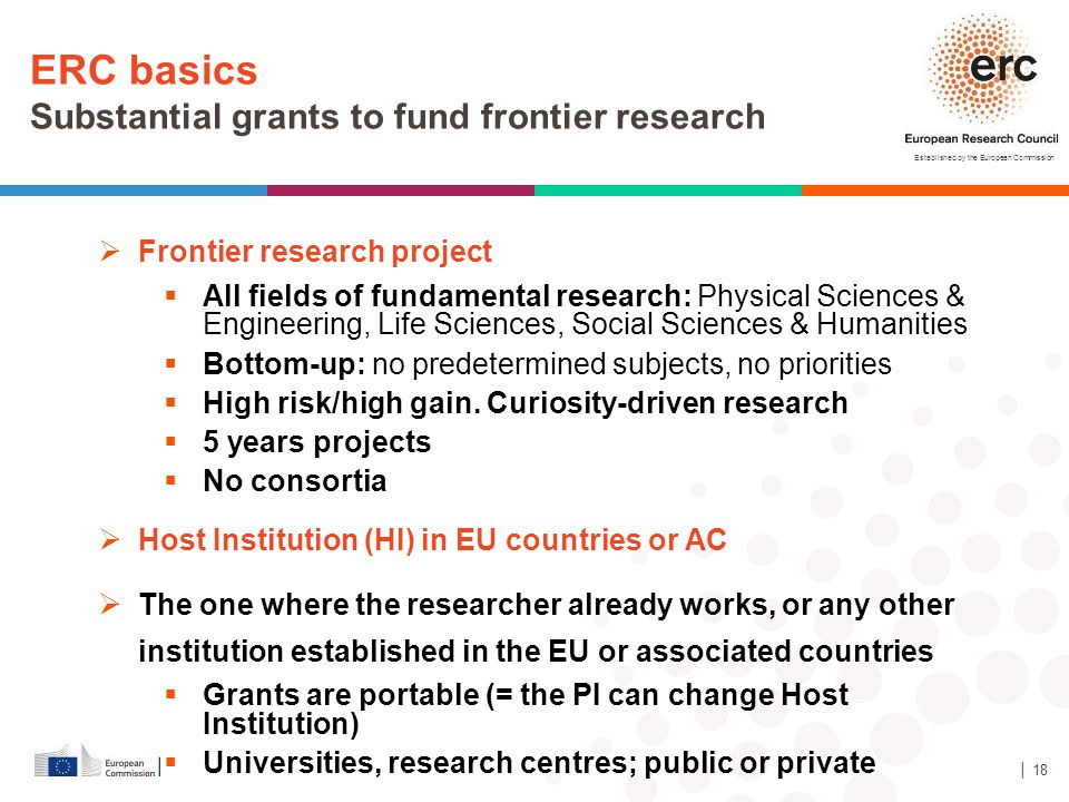 ERC basics Substantial grants to fund frontier research