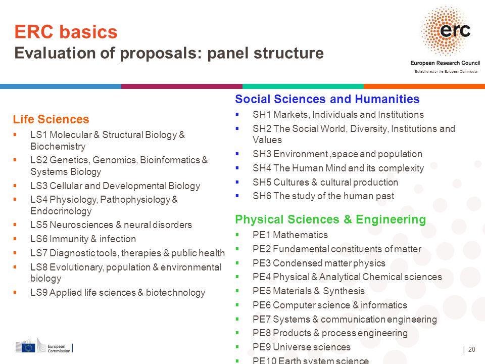 ERC basics Evaluation of proposals: panel structure