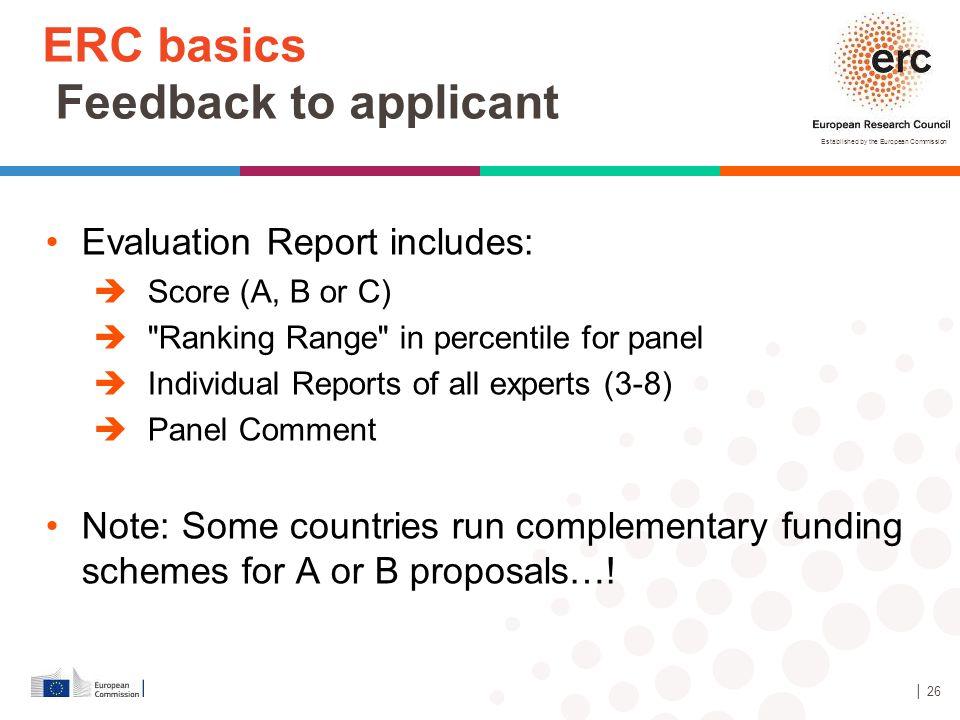ERC basics Feedback to applicant