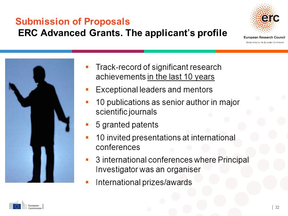 Submission of Proposals ERC Advanced Grants. The applicant's profile