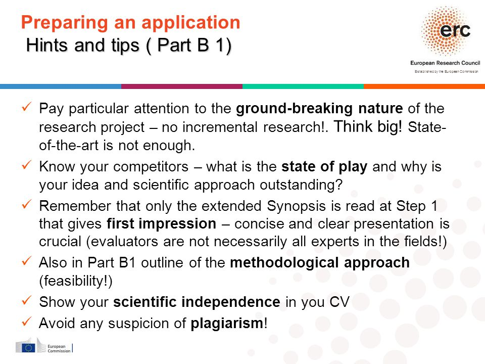 Preparing an application Hints and tips ( Part B 1)