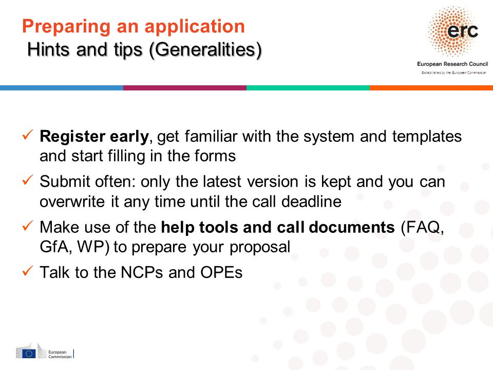 Preparing an application Hints and tips (Generalities)