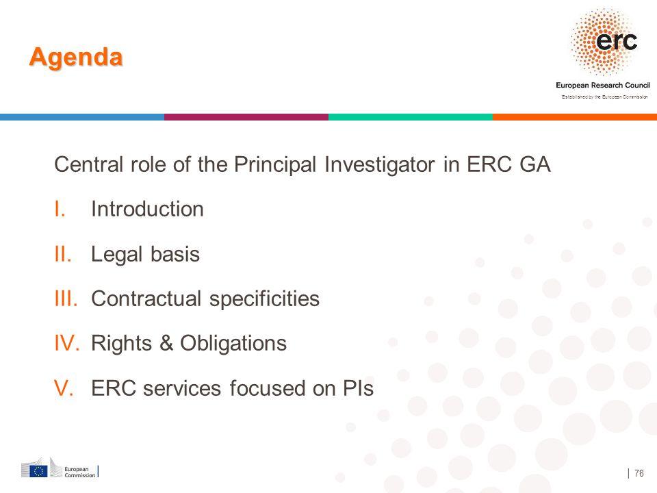 Agenda Central role of the Principal Investigator in ERC GA