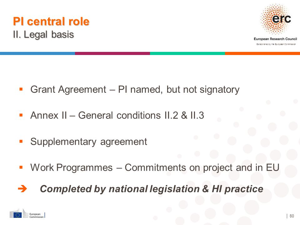 PI central role II. Legal basis