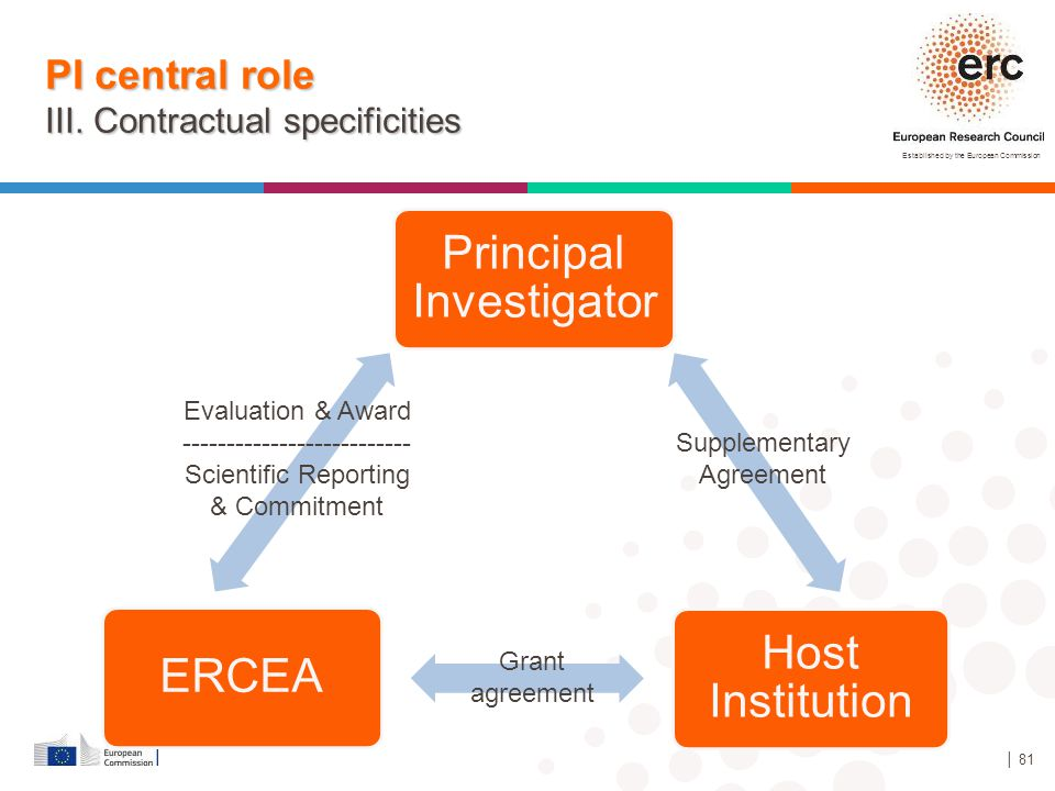 PI central role III. Contractual specificities