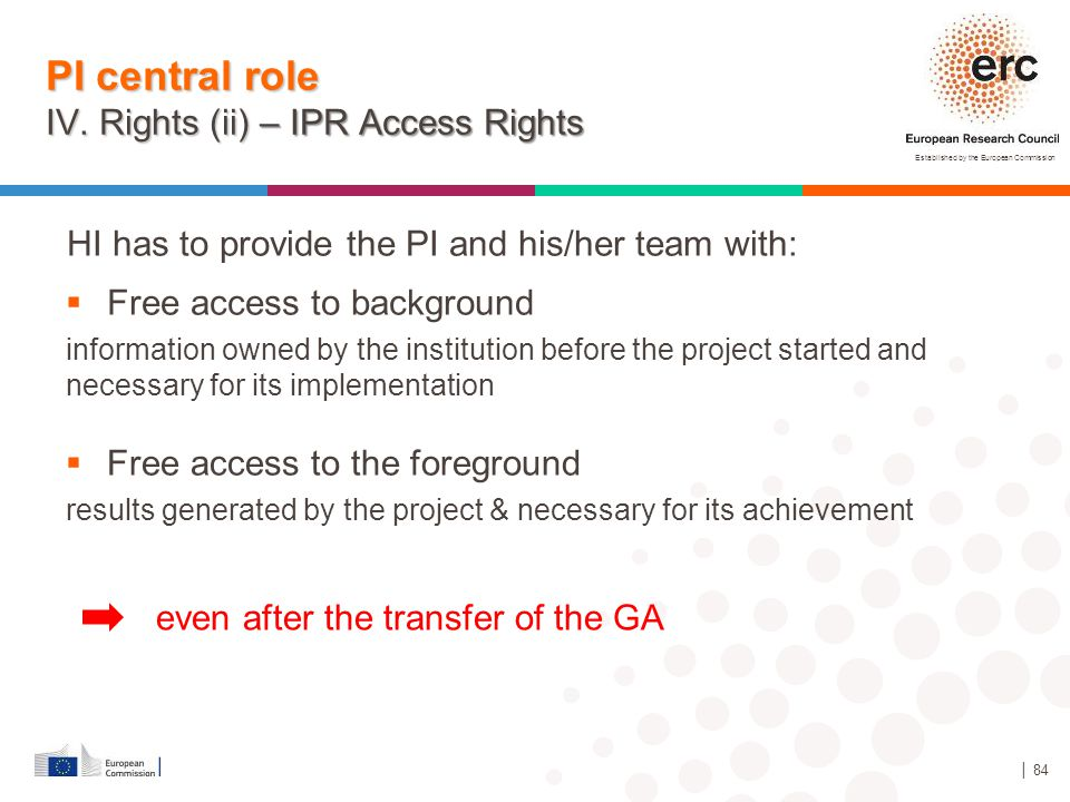 PI central role IV. Rights (ii) – IPR Access Rights
