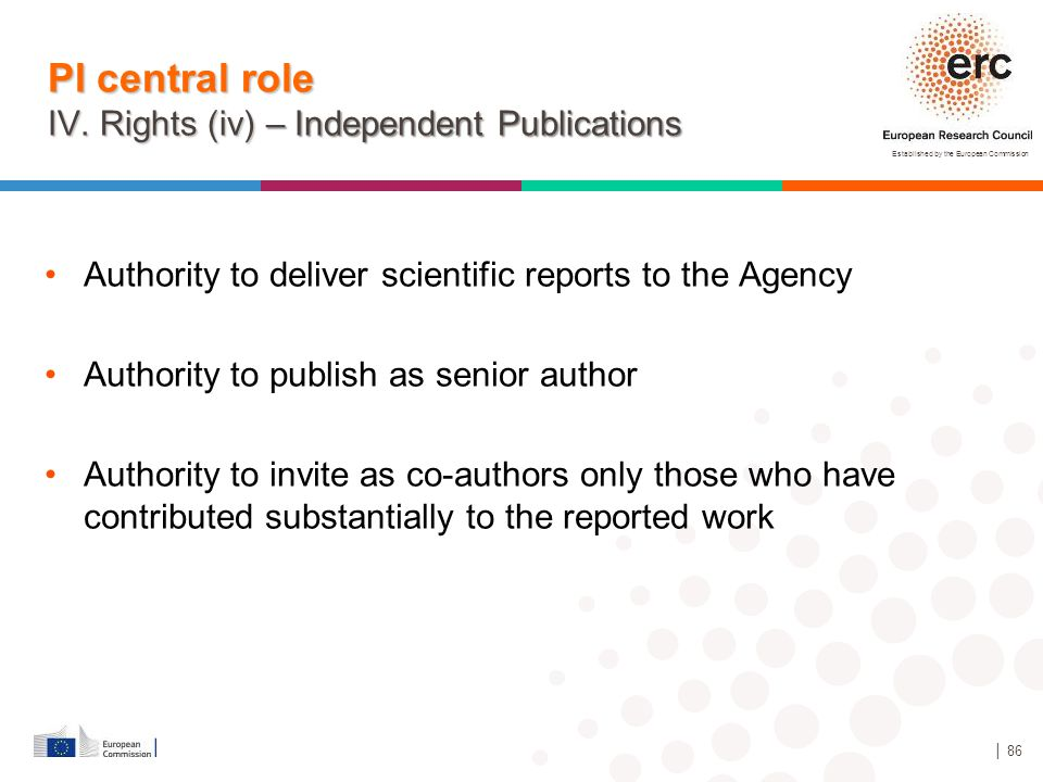 PI central role IV. Rights (iv) – Independent Publications