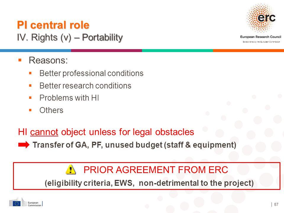 (eligibility criteria, EWS, non-detrimental to the project)