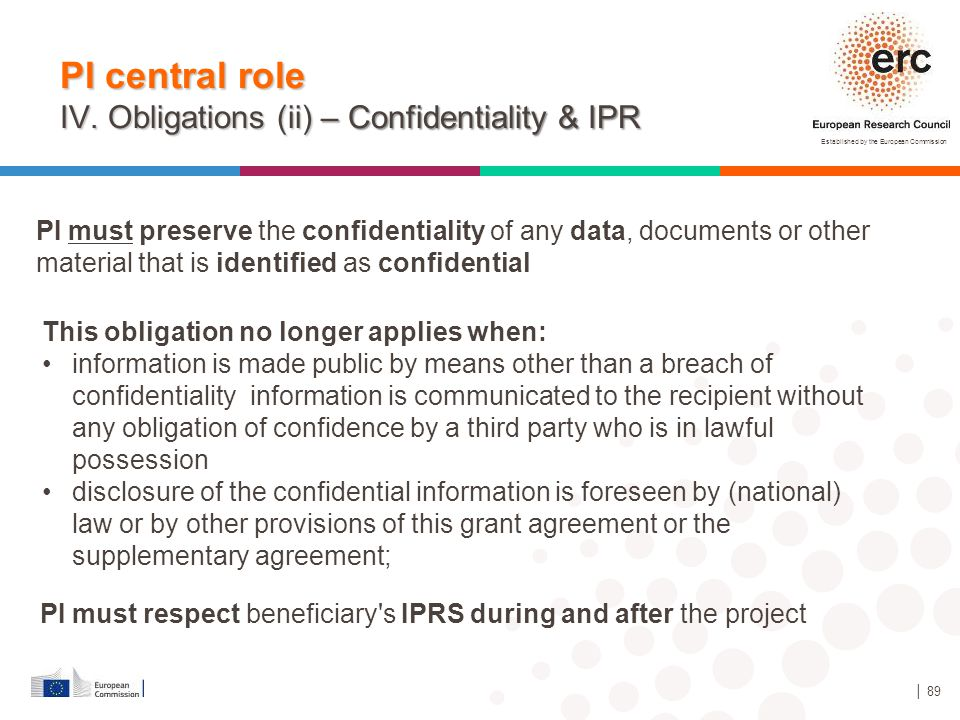 PI central role IV. Obligations (ii) – Confidentiality & IPR