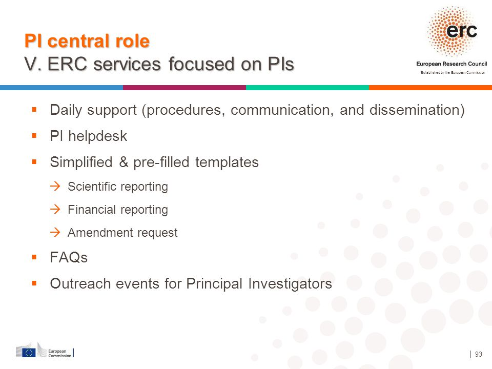 PI central role V. ERC services focused on PIs