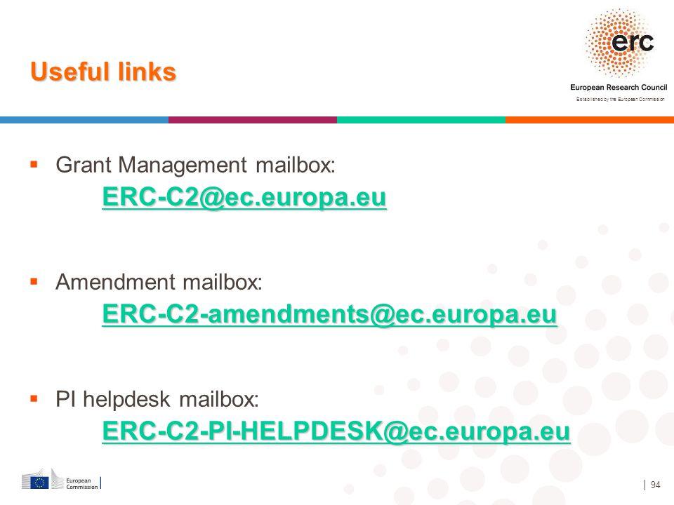 Useful links ERC-C2@ec.europa.eu ERC-C2-amendments@ec.europa.eu