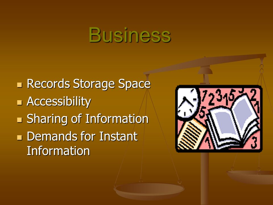 Business Records Storage Space Accessibility Sharing of Information