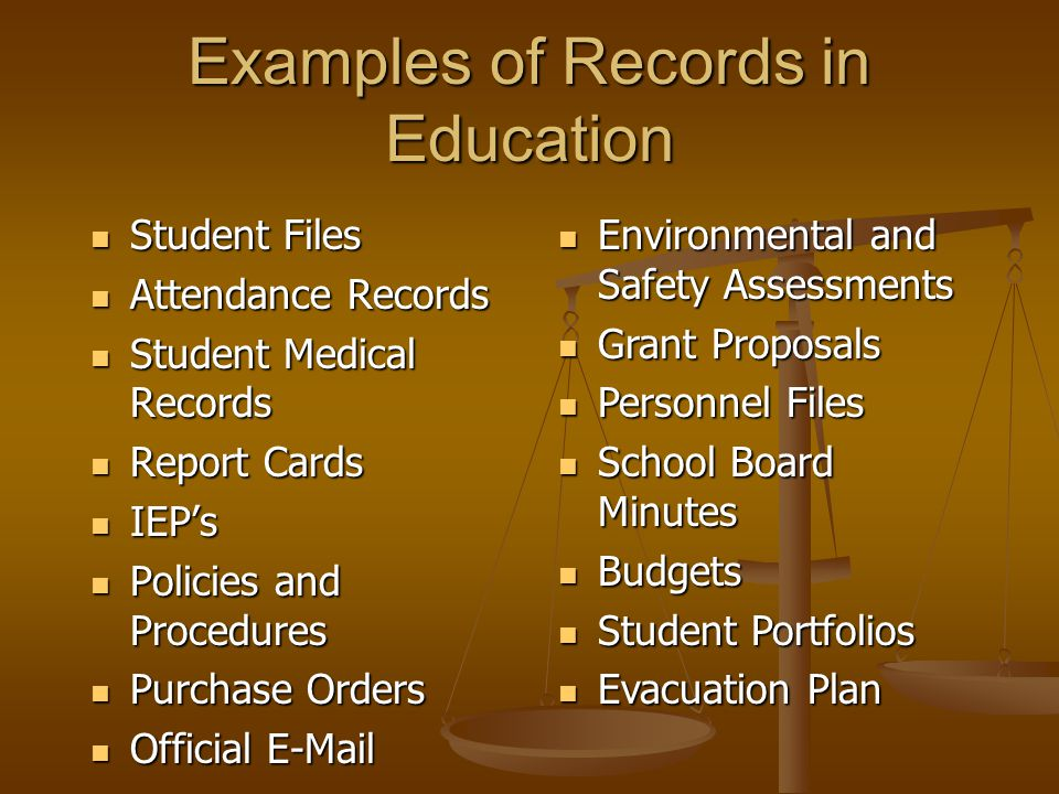 Examples of Records in Education