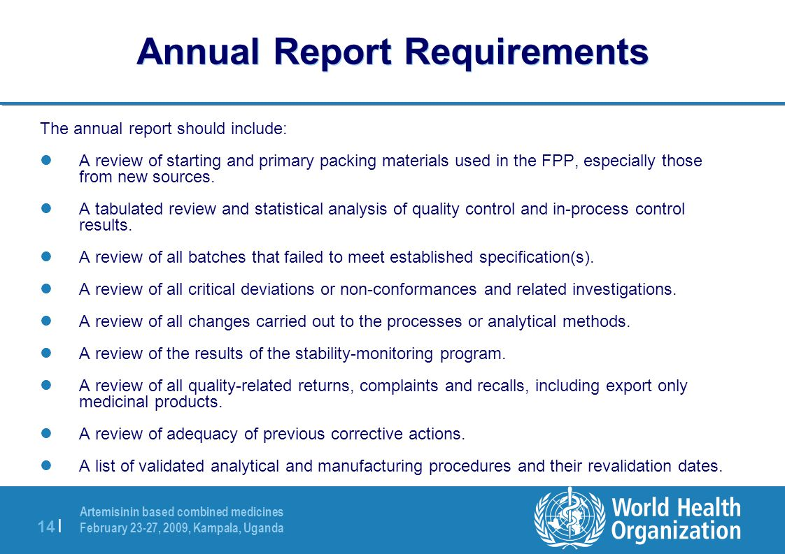 Annual Report Requirements