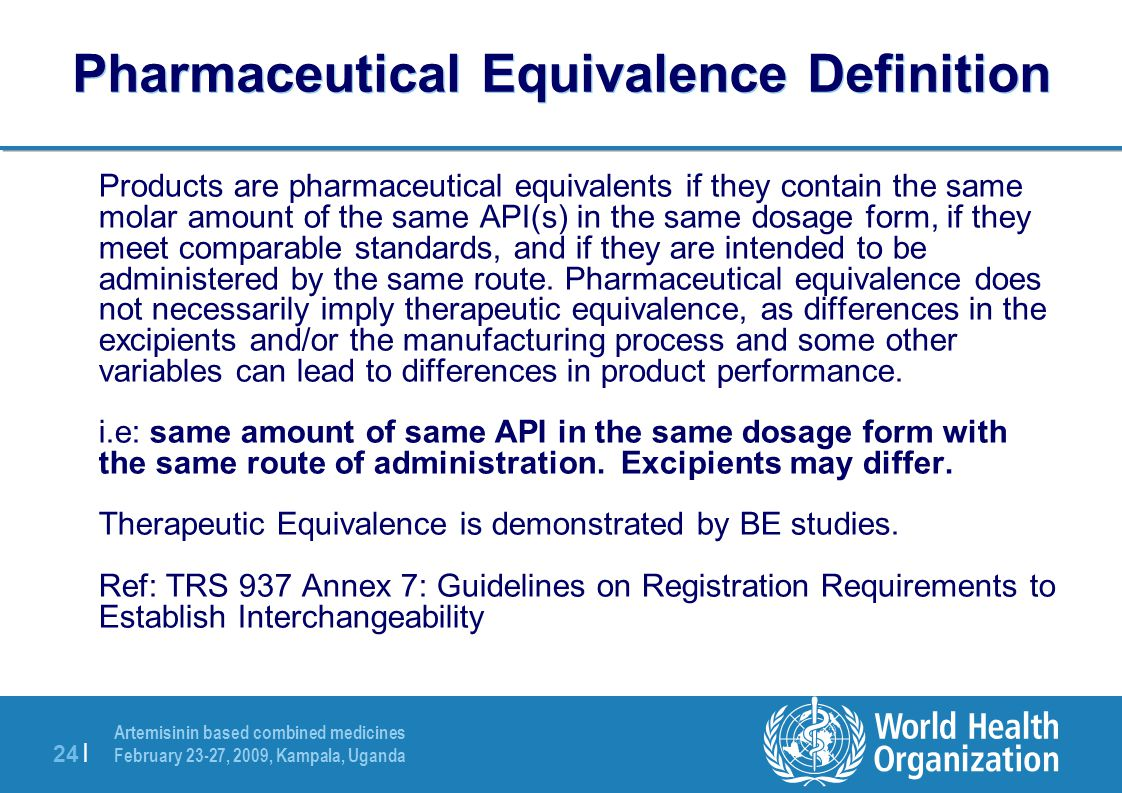 Pharmaceutical Equivalence Definition