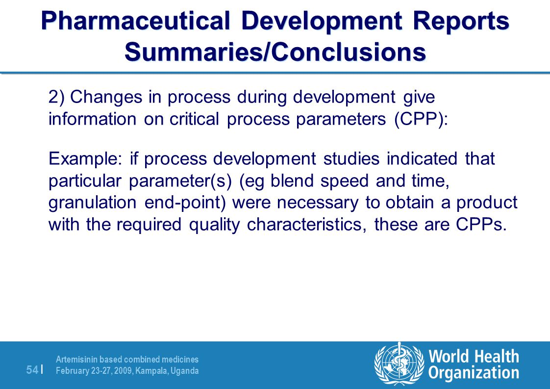 Pharmaceutical Development Reports Summaries/Conclusions