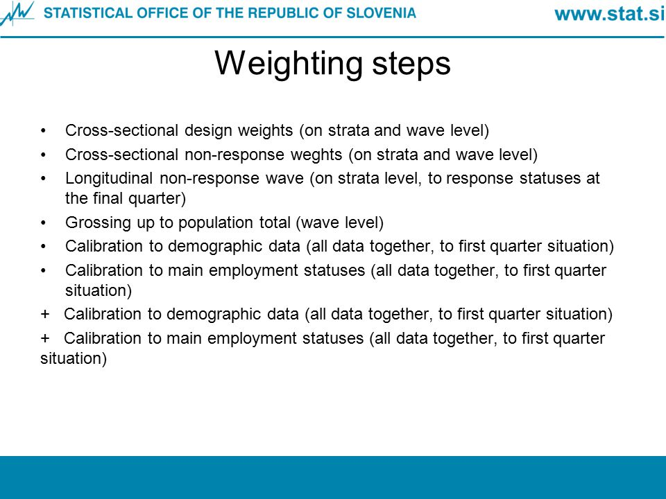 Weighting steps Cross-sectional design weights (on strata and wave level) Cross-sectional non-response weghts (on strata and wave level)