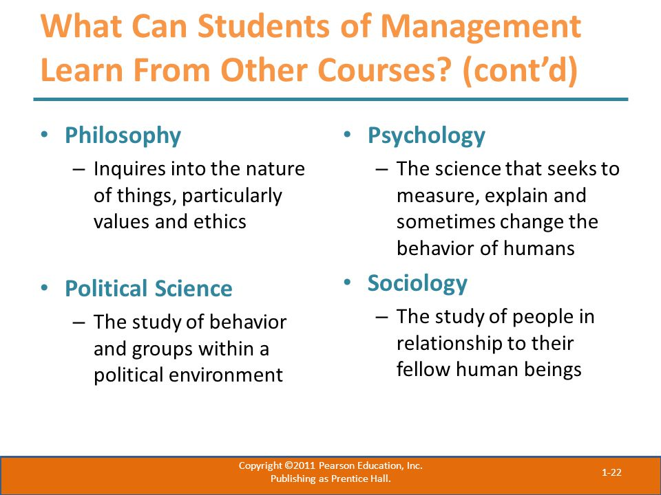 What Can Students of Management Learn From Other Courses (cont'd)