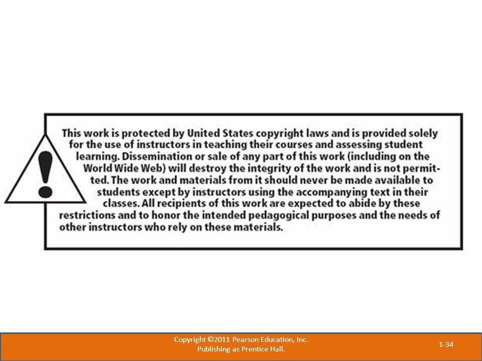 Copyright ©2011 Pearson Education, Inc. Publishing as Prentice Hall.