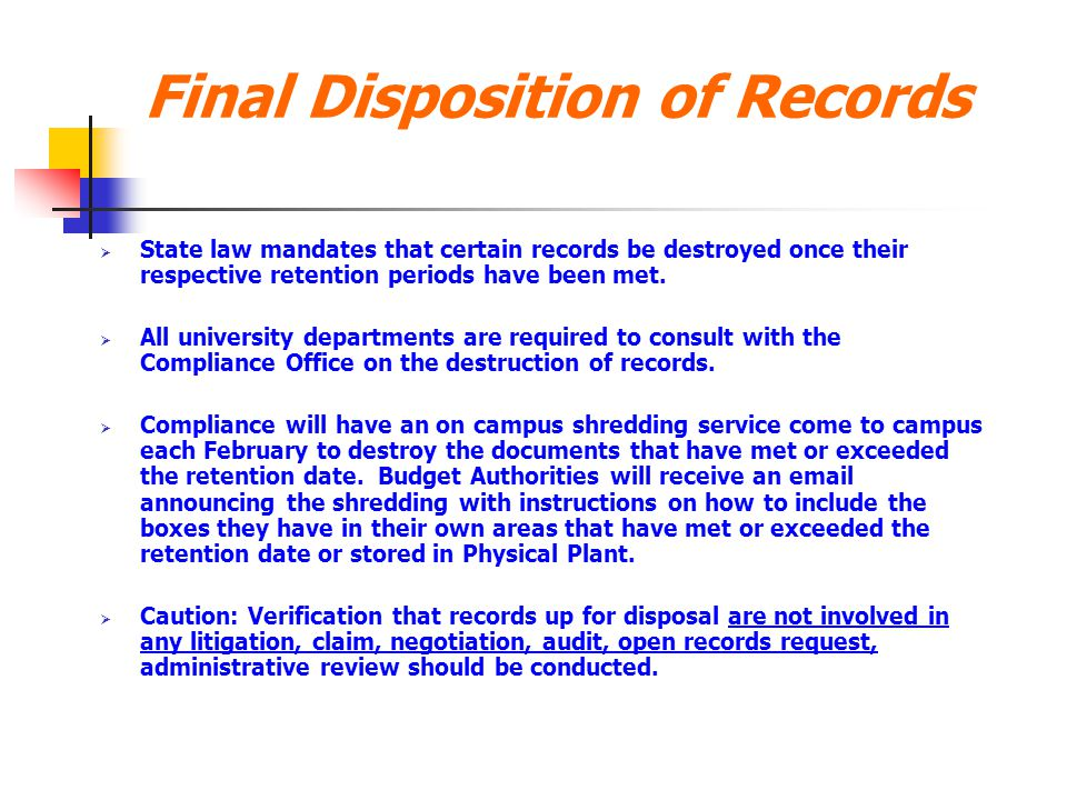 Final Disposition of Records