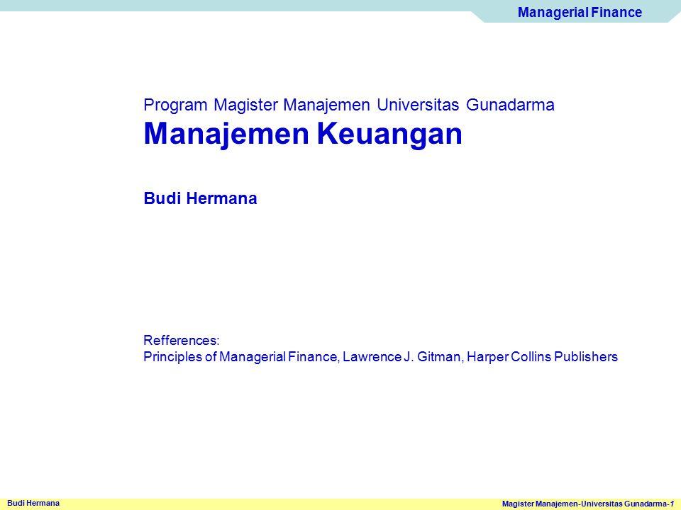 Manajemen Keuangan Program Magister Manajemen Universitas Gunadarma
