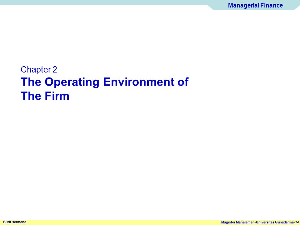 The Operating Environment of The Firm