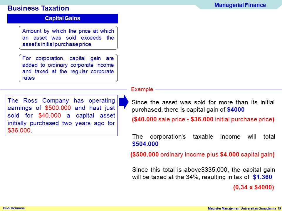 Business Taxation Capital Gains. Amount by which the price at which an asset was sold exceeds the asset's initial purchase price.