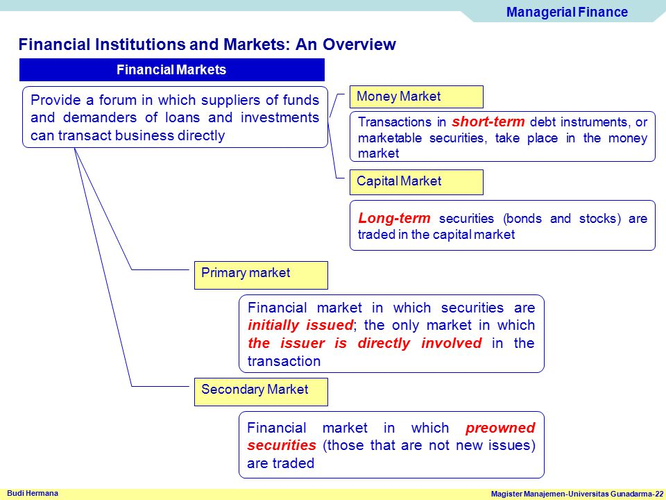 Financial Institutions and Markets: An Overview