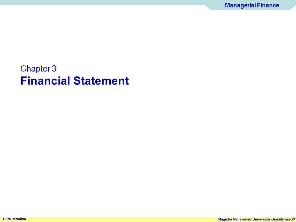 Chapter 3 Financial Statement