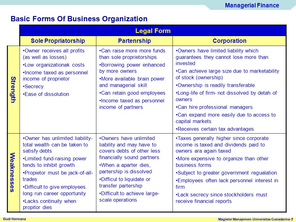 Basic Forms Of Business Organization