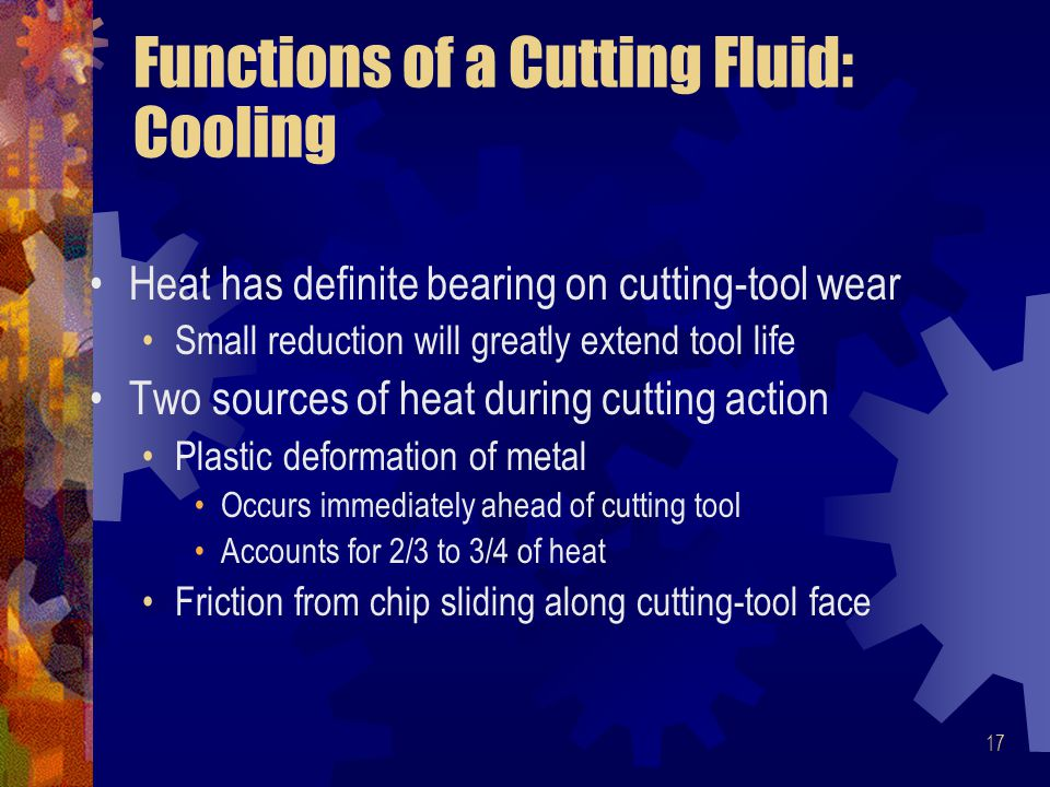 Functions of a Cutting Fluid: Cooling