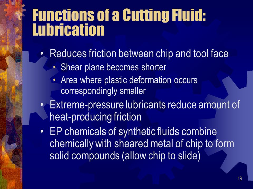 Functions of a Cutting Fluid: Lubrication