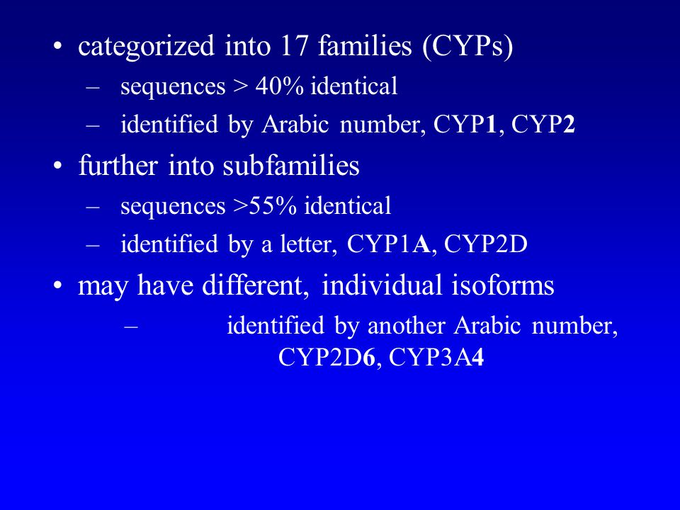 identified by another Arabic number, CYP2D6, CYP3A4