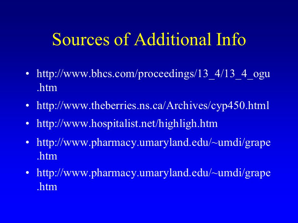 Sources of Additional Info