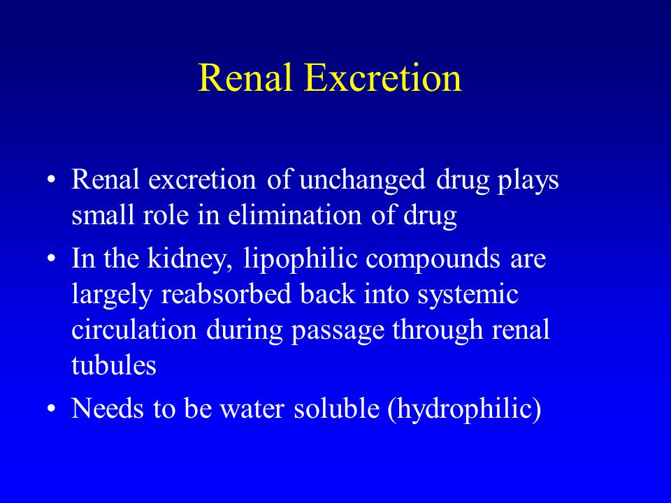 Renal Excretion Renal excretion of unchanged drug plays small role in elimination of drug.