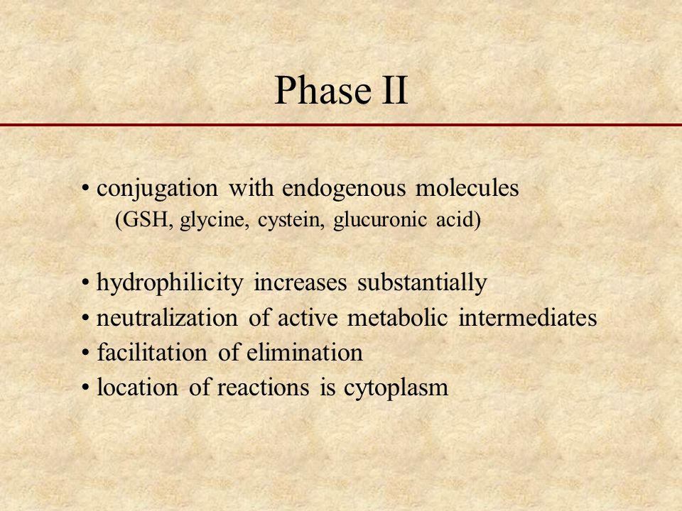Phase II conjugation with endogenous molecules