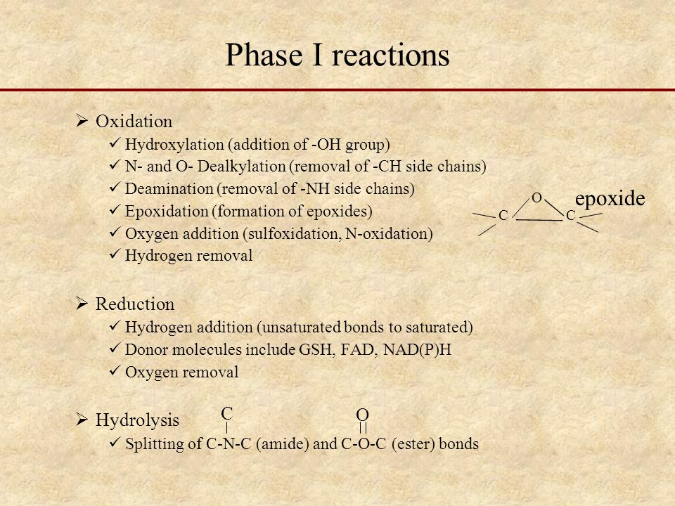 Phase I reactions epoxide Oxidation Reduction Hydrolysis C O