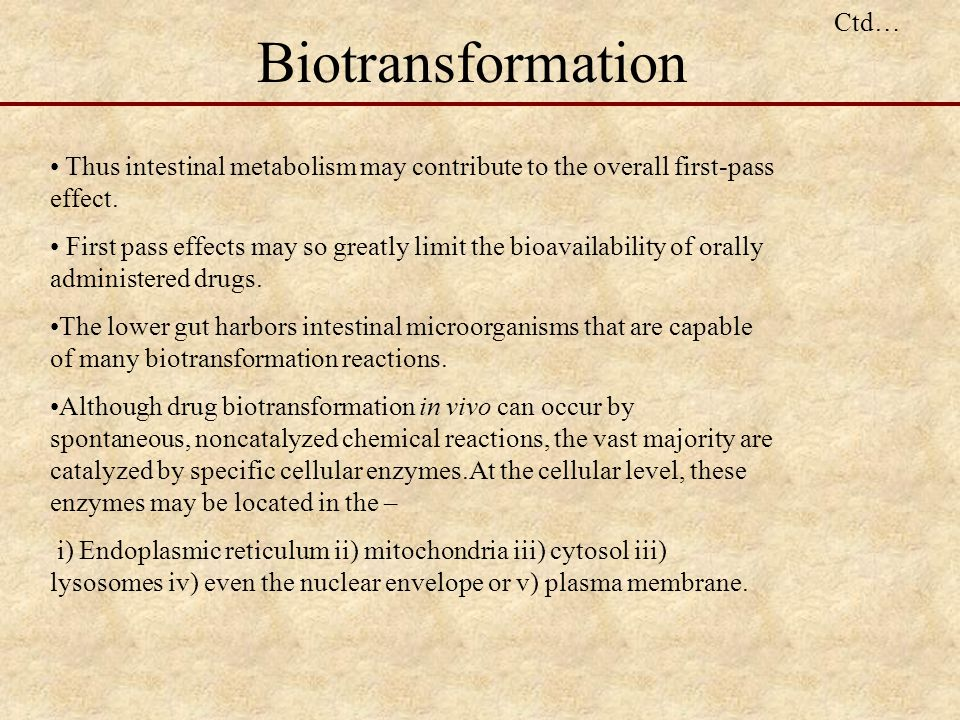 Biotransformation Ctd…
