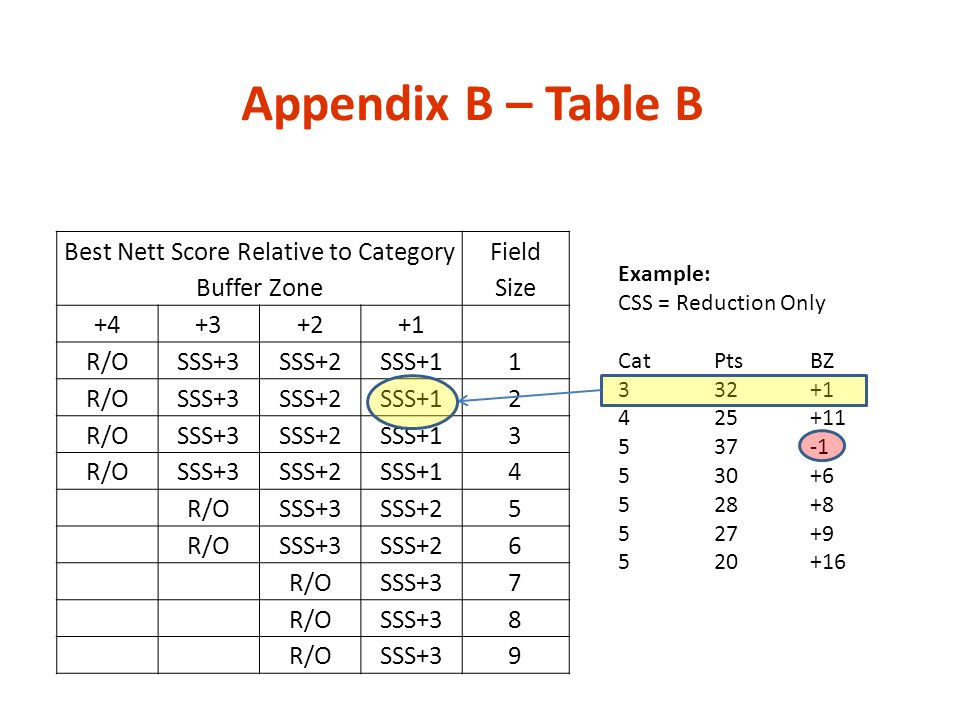 Best Nett Score Relative to Category Buffer Zone