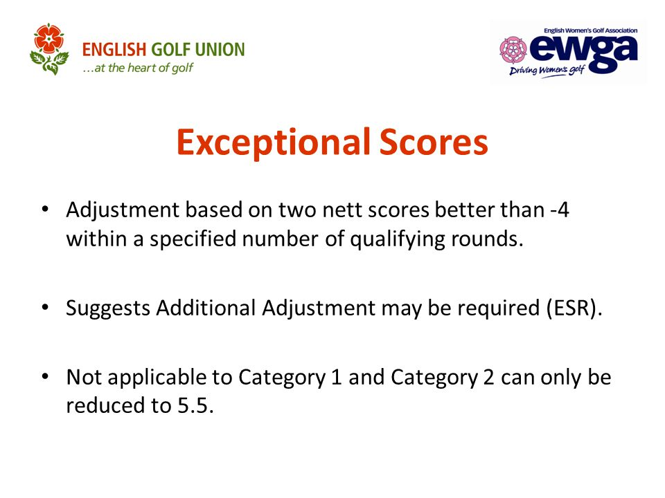 Exceptional Scores Adjustment based on two nett scores better than -4 within a specified number of qualifying rounds.