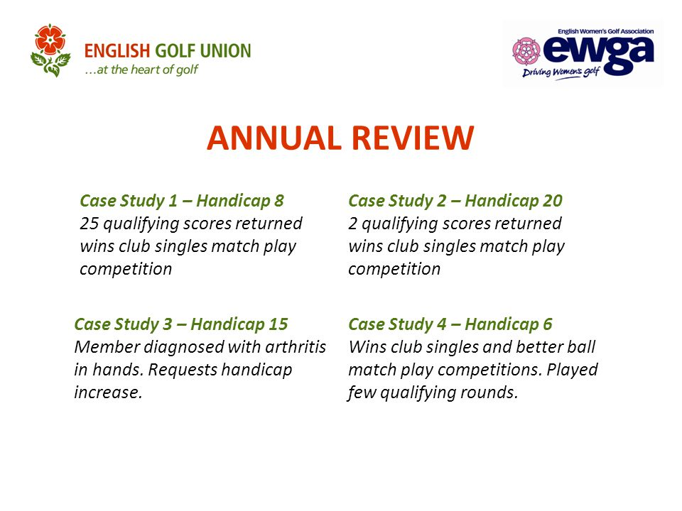 ANNUAL REVIEW Case Study 1 – Handicap 8 25 qualifying scores returned wins club singles match play competition.