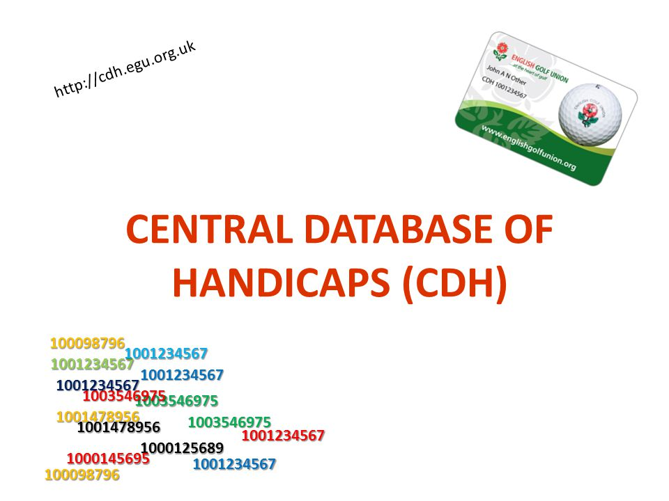 CENTRAL DATABASE OF HANDICAPS (CDH)