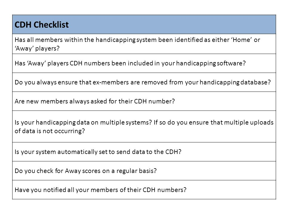 CDH Checklist Has all members within the handicapping system been identified as either 'Home' or 'Away' players