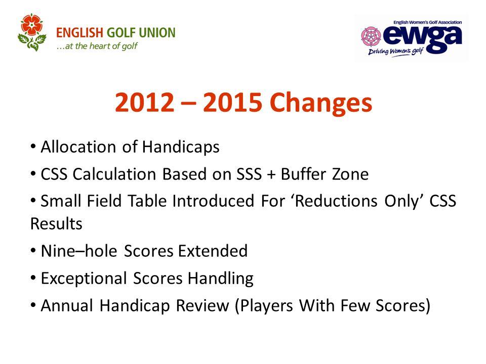 2012 – 2015 Changes Allocation of Handicaps